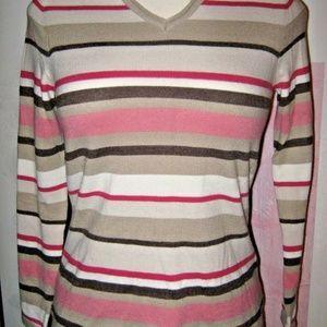 Cream Beige Brown Tan Pink Stripe Soft Sweater S
